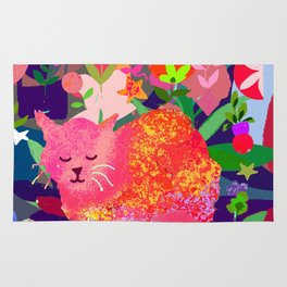 Sleeping Cat with Abstract Background Rug