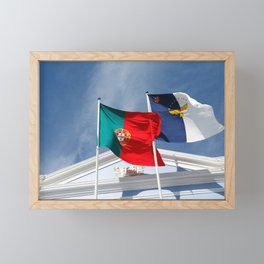 Portugal and Azores flags Framed Mini Art Print