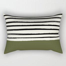 Olive Green x Stripes Rectangular Pillow