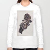 violin Long Sleeve T-shirts featuring violin by Buffy Ino Kua