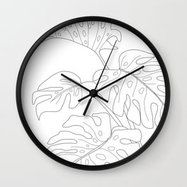 Line Art Monstera Leaves Wall Clock
