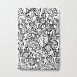 just chickens black white Metal Print