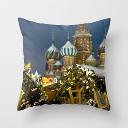 Moscow in Christmas, Russia Throw Pillow