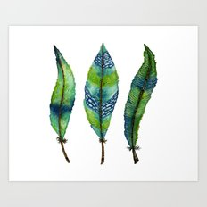 Mystic Sea Feather Trio Art Print
