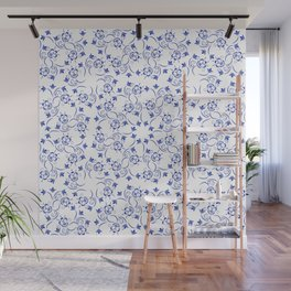 Dense pattern of blue flowers Wall Mural