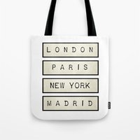 calendars Tote Bags featuring London | Paris | New York | Madrid by Shabby Studios Design & Illustrations ..