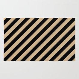 Tan Brown and Black Diagonal RTL Stripes Rug