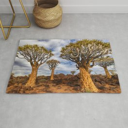 Quiver Tree Forest Aloe dichotoma Keetmanshoop Quiver Tree evening sunset trees African landscape Namibia Aloidendron dichotomum Rug