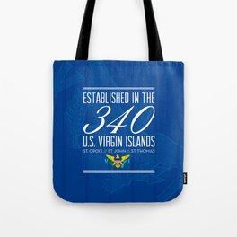 Established in the 340/USVI - Blue Tote Bag