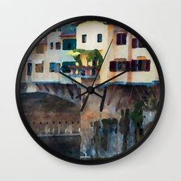 Watercolor painting of Florence, Italy Wall Clock