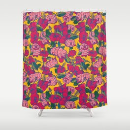 Water bears with Flowers Shower Curtain