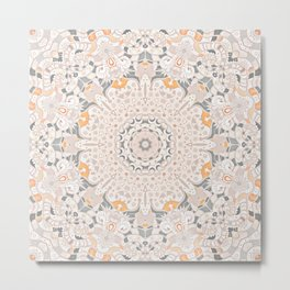BOHO SUMMER JOURNEY MANDALA - SUNSHINE YELLOW GREY Metal Print