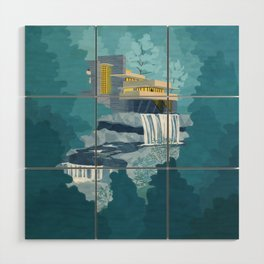Falling water house Wood Wall Art