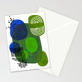 Modern Mid Century Fun Colorful Abstract Minimalist Painting Shapes & Patterns Swamp Monster Greens Stationery Cards