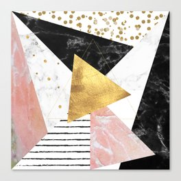 Elegant geometric marble and gold design Canvas Print