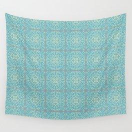 Vintage Fleur-de-lis Tile in Old World Tile Pattern Wall Tapestry