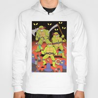 foo fighters Hoodies featuring TURTLES FIGHTERS - REVENGE by Jack Teagle
