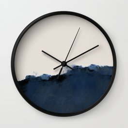 Abstract, blue, beige, indigo Wall Clock