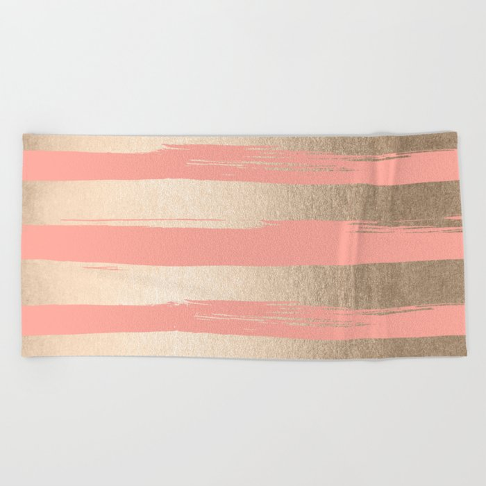 Painted Stripes Tahitian Gold on Coral Pink Beach Towel