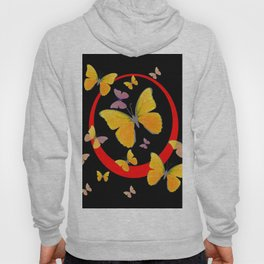 YELLOW BUTTERFLIES & RED RING  ABSTRACT ART Hoody