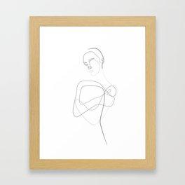 Abstract Female Body Line Illustration Framed Art Print