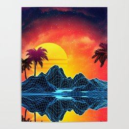 Sunset Vaporwave landscape with rocks and palms Poster