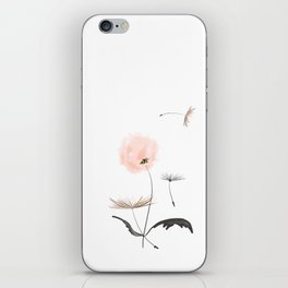 Sweet dandelions in pink - Flower watercolor illustration with glitter iPhone Skin