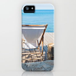 Wooden floor with chaise-longues and bue sea in Istria, Croatian coast iPhone Case