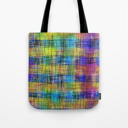 plaid pattern abstract texture in yellow pink blue Tote Bag