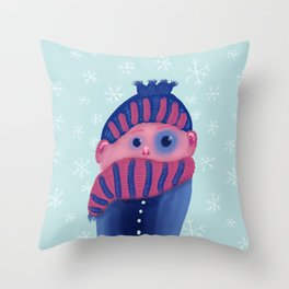 Freezing Kid In Winter Throw Pillow