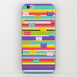 Colorful Peeking Cats on stripes iPhone Skin