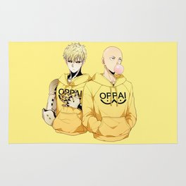 Saitama and Genos Yellow Oppai Rug
