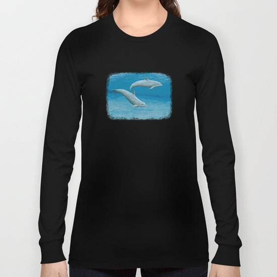 """""""Sandscape"""" by Amber Marine ~ Dolphin Art ~ Acrylic Painting, (Copyright 2014) Long Sleeve T-shirt"""