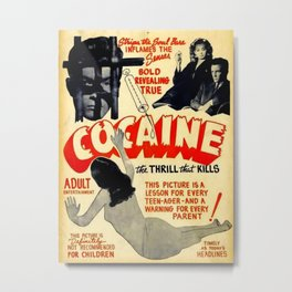 Vintage Cocaine Propaganda Movie Metal Print