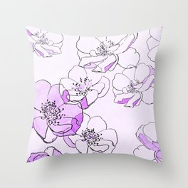 Painted Wild Roses Purple Throw Pillow