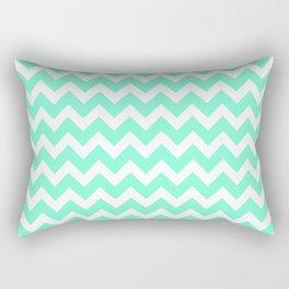 Aquamarine and White Chevron Pattern Rectangular Pillow