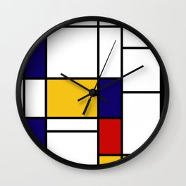Primary Colors Geometric Pattern Fabric - Mondrian Fabric - Bauhaus Style Lines Home Decor Cotton Wall Clock