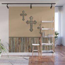Western Crosses Barn Wood Rope and Concho Print Wall Mural