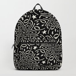 SHANTUNG black and white pattern of lacy starburst Backpack