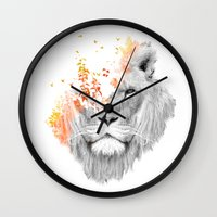 king Wall Clocks featuring If I roar (The King Lion) by Picomodi