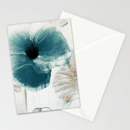 Teal Poppies Stationery Cards