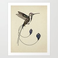 hummingbird Art Prints featuring Hummingbird by Andreas Preis