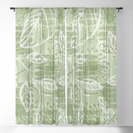 Abstract Floral Jungle Pattern with Flowers Leaves and Stripes in Green Sheer Curtain