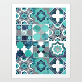 Spanish moroccan tiles inspiration // turquoise green silver lines Art Print
