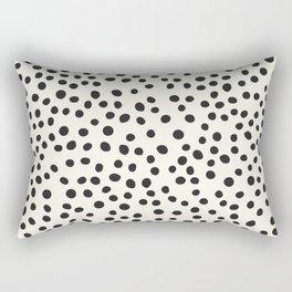 Black Decorative Dots on White, Minimalist line drawing, Modern art print with dots. Rectangular Pillow