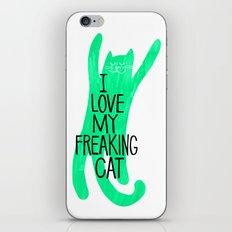 i love my freaking cat - green iPhone & iPod Skin