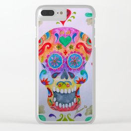 Mexican Calaca Sugar Skull Painting Clear iPhone Case