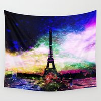 eiffel tower Wall Tapestries featuring eiffel tower by haroulita