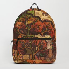 Beautiful Fractal Collage of an Endless Origami Autumn Backpack
