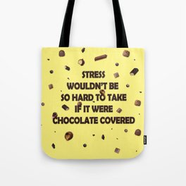 Falling chocolates with yellow background Tote Bag